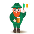 St Patrick's Day man character with beer and irish flag