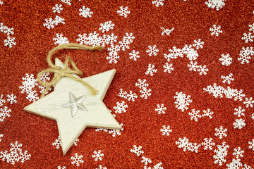 Festive red Christmas background with snowflakes