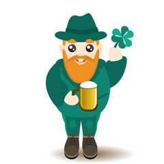 St Patrick's Day man character with beer and lucky shamrock