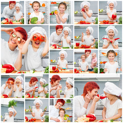collage mother and daughter in the kitchen