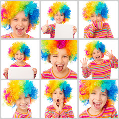 collage girl in a colorful clown wig
