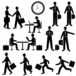 Silhouette Businessman - vector set. Walking and running