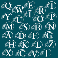 Vintage Alphabet - design element. Vector illustration