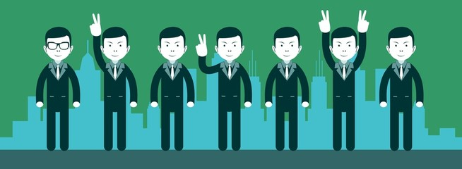 Teamwork web illustration of business people. Vector