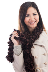 Young Malaysian woman wearing winter clothing