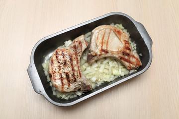 Pork loin in baking dish