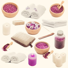 Collage of photos Spa elements on a white background