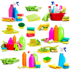 Collage of photos detergent and cleaning supplies