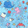 Cartoon marine seamless pattern for wallpapers. - 79515289