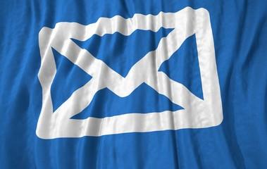 Envelope symbol corrugated realistic flag 3d illustration