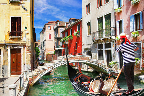 Poster Venetian vacations. colorful sunny canals of beautiful city