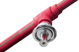 Fire sprinkler on red pipe