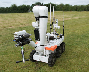A Large Military Bomb Disposal Remote Control Robot.
