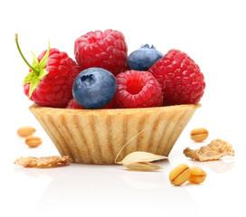 Sweet dessert, raspberry and blueberry
