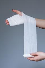 Woman is wearing bandage
