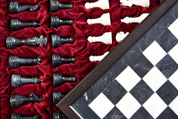 Marble chess pieces in box