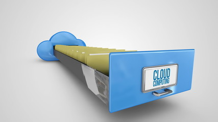 Cloud computing filing drawer on white background