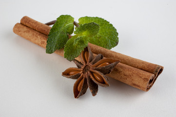 cinnamon, star anise and mint on white background