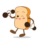 Bread-08 Isolated happy smile stronger Slice of bread cartoon poster