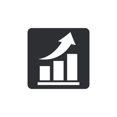 Vector growing graph icon. Infographic chart vector. Rounded