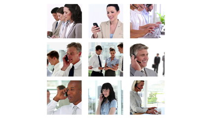 Different screens showing business people