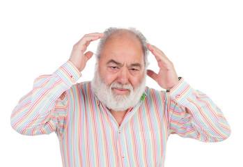 Worried senior man crying