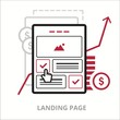Leinwandbild Motiv Landing page. Flat vector illustration. Outlined IT icon