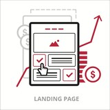 Landing page. Flat vector illustration. Outlined IT icon