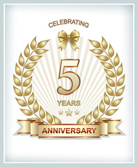 Greeting card with the 5th anniversary