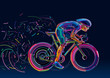 Professional cyclist. Artwork in the style of paint strokes. - 79519478
