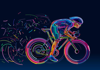 Professional cyclist. Artwork in the style of paint strokes.