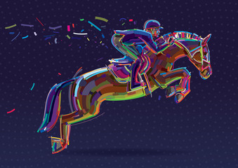 Equestrian sport. Artwork in the style of paint strokes.