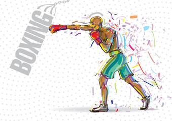 Boxing training. Artwork in the style of paint strokes.