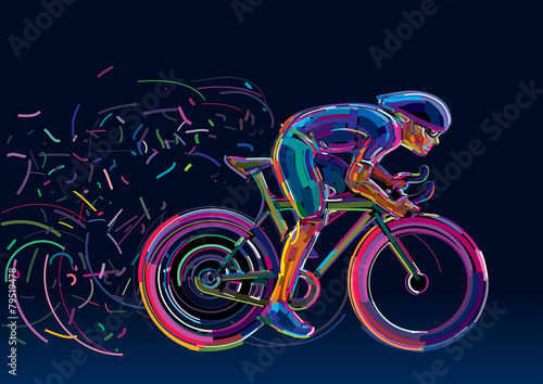 Fototapeta Professional cyclist. Artwork in the style of paint strokes.