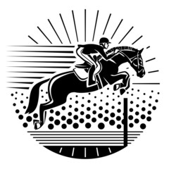 Equestrian sport. Illustration in the engraving style.