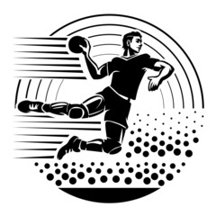 Handball.Illustration in the engraving style.
