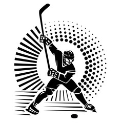 Hockey player.Illustration in the engraving style.