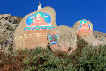Mani stones-om mani padme hum. Drepung monast.-Tibet. 1202