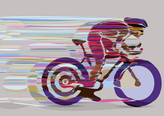 Artistic stylized racing cyclist in motion.