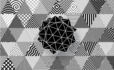 Polyhedron on decorative triangles background.