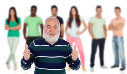 Senior man saying Ok with young people of background