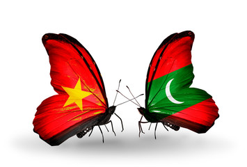 Two butterflies with flags Vietnam and Maldives