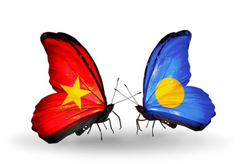 Two butterflies with flags Vietnam and Palau