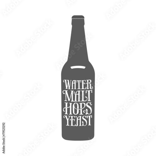 Deurstickers Retro Vintage beer emblem
