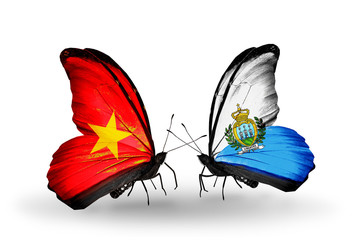 Two butterflies with flags Vietnam and San Marino