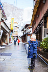 Little girl at town in Japan