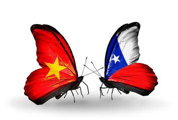 Two butterflies with flags  Vietnam and Chile