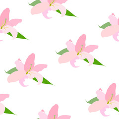 Lilly Flower Seamless Pattern Vector Illustration
