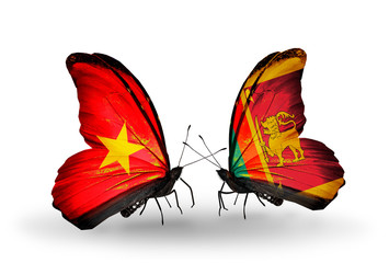 Two butterflies with flags Vietnam and Sri Lanka