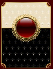 golden vintage frame with floral medallion